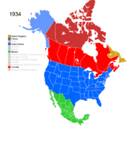 Map showing Non-Native American Nations Control over N America c. 1934