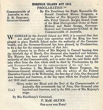 Norfolk Island - Norfolk Island Act 1913 Proclamation, effective 1 July 1914