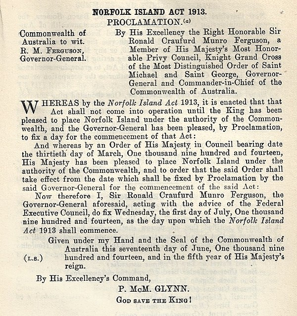 Norfolk Island Act 1913 Proclamation, effective 1 July 1914 Norfolk Island Act 1913 Proclamation.jpg