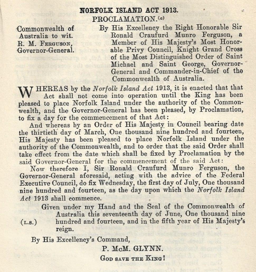 Norfolk Island Act 1913 Proclamation