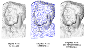 Low poly - An example of normal mapping used to add detail to a low poly (500 triangle) mesh