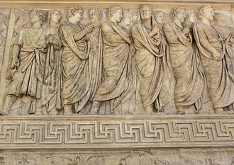 Relief - A common mixture of high and low relief, in the Roman Ara Pacis, placed to be seen from below. Low relief ornament at bottom