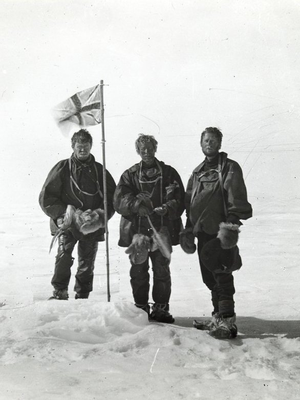 Orthochromasia - The Union Jack on orthochromatic emulsion at the South Magnetic Pole in 1909.