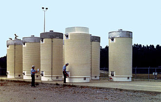 Following interim storage in a spent fuel pool, the bundles of used fuel rod assemblies of a typical nuclear power station are often stored on site in the likes of the eight dry cask storage vessels pictured above. At Yankee Rowe Nuclear Power Station, which generated 44 billion kilowatt hours of electricity when in service, its complete spent fuel inventory is contained within sixteen casks. It is commonly estimated that to produce a per capita lifetime supply of energy at a western standard of living, approximately 3 GWh, would require on the order of the volume of a soda can of Low enriched uranium per person and thus result in a similar volume of spent fuel generated. Nuclear dry storage.jpg