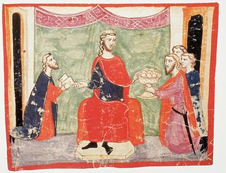 Peter III of Aragon - King Peter III gives audience to ambassadors of Holy Roman Emperor Frederic II, King of Sicily and the Byzantine Emperor Michael VIII Palaiologos, demanding Peter to intervene in the war against Charles of Anjou. (Nuova cronica. f.123r (1.VIII,59) ms. Chigiano L VIII 296)