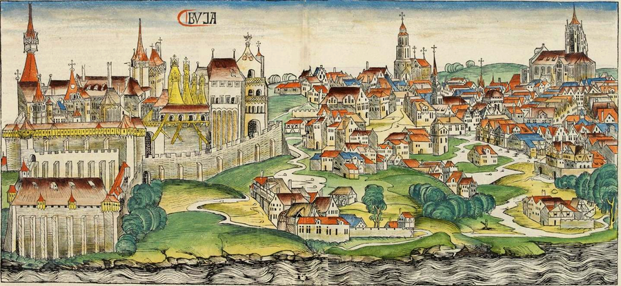 Buda during the Middle Ages, woodcut from the Nuremberg Chronicle (1493) Nuremberg chronicles - BVJA.png
