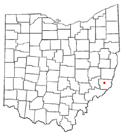 Location of Woodsfield, Ohio