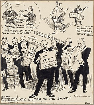 Francis Fisher - 1912 cartoon about the Massey Government, with Fisher playing the trombone