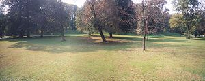 Panoramic view from within the Great Circle at the Newark Earthworks in Newark, Ohio (wall of which can be seen in the background).