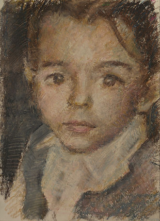 Oil pastel - Portrait of a child made from oil pastels.