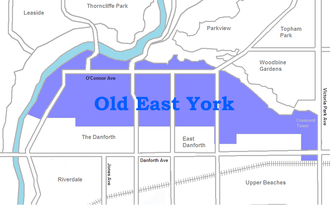 Old East York - Image: Old East York map