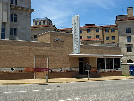 The Old Montgomery Greyhound Station, site of the May 20, 1961, violence is preserved as the Freedom Rides Museum (2011 photo) Old Montgomery Greyhound Station May2009.jpg