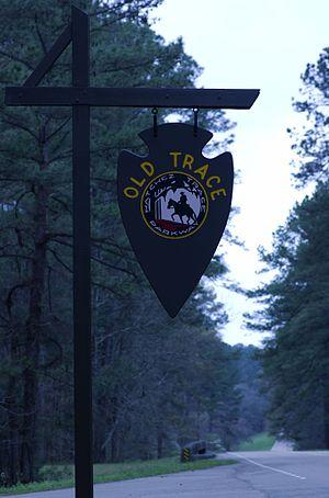 Natchez Trace Parkway - Old Natchez Trace sign southwest of Mathiston, Mississippi