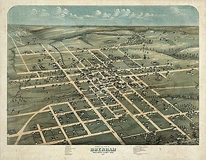 Brenham, Texas - Map of the city 1873
