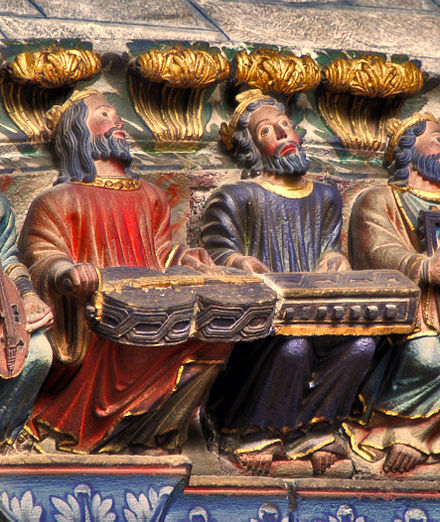 Men playing the organistrum, from the Ourense Cathedral, Spain, 12th century Organistrum Orense 200708.jpg