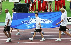 Rosa Mota - Mota carrying the IAAF flag at the World Athletics Championships 2007 in Osaka