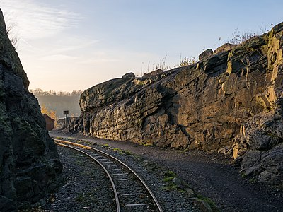 Rails of the Piesberg quarry railway, just before sunset. Osnabrück, Lower Saxony, Germany