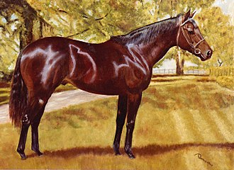 Saratoga Special Stakes - Our Talisman, oil on canvas  Painting by Bob Demuyser (1920-2003)