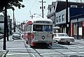 PAAC PCC 1620, a MT. WASHINGTON car on Grandview Ave. crossing Cohasset Ave. in Pittsburgh, PA (Dusquene Heights) on June 26, 1965 (26825049196).jpg