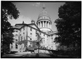 PERSPECTIVE VIEW FROM NORTHEAST - Maine State House, State and Capitol Streets, Augusta, Kennebec County, ME HABS ME,6-AUG,2-3.tif