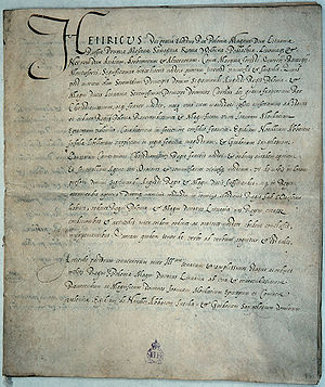 Pacta conventa - The first pacta conventa, signed by King Henry of Poland, 1573