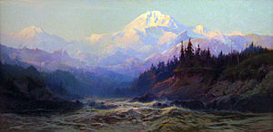 Anchorage Museum - A landscape painting of Mount McKinley, the tallest peak in North America by Sydney Laurence on display at the Anchorage Museum