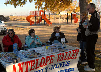 Pancho Barnes - Members of the Ninety-Nines and their families talk to attendees at Pancho Barnes Day, November 7, 2009.