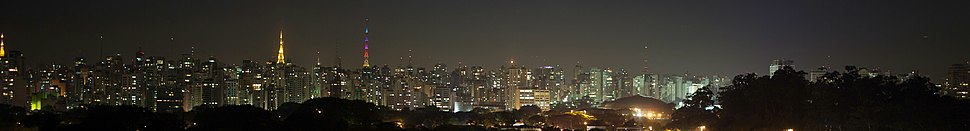 Panoramic view of the city at night from Ibirapuera Park