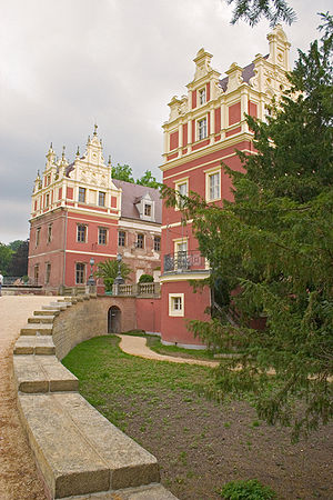 The restored New Castle of Bad Muskau in Germany, west of the park.