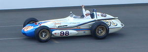 Parnelli Jones - Jones drives the car he drove in the Indianapolis 500 from 1961 through 1964 around the Indianapolis Motor Speedway track in 2012.