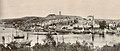Part of panorama photo of Tønsberg, Vestfold - Riksantikvaren-T084 01 0527 from 1908 - Slottsfjellet, Slottsfjellstårnet, Slottsfjellmuseet, Slottsfjellskolen, Nordbyen, Tønsberg domkirke, Tønsberg gamle stasjon, hotell, båter, T.jpg