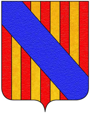 Duke of Carcaci - Arms of Paternò Castello, Dukes of Carcaci: Or, four pales gules overall a bendlet azure.