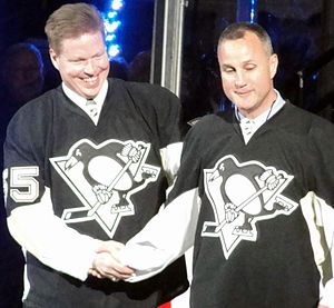 Paul Coffey - Coffey (right) and Larry Murphy are introduced during a pregame ceremony honouring the final regular season game at Mellon Arena, April 8, 2010.