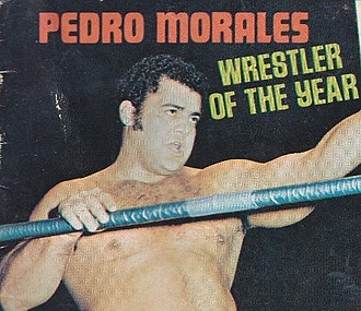 Pedro Morales - Morales on the cover of 1973 Wrestling Annual magazine