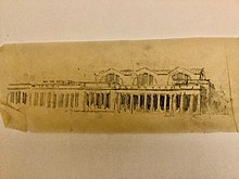 A yellowed charcoal sketch of Pennsylvania Station
