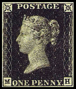 Postage stamp design - A British Penny Black with no country name designation.