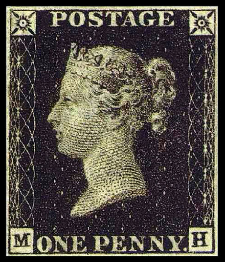 The Penny Black, the world's first postage stamp. Penny black.jpg