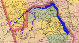 A map of the area shows the river and its tributaries. Moncton is near the top of the map, and Shepody Bay in the lower right corner.