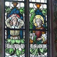 Pfarrkirche Weitnau Nothelferfenster Pantaleon Cyriacus
