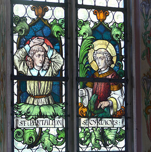 Cyriacus - Stained-glass image of St Cyriacus (right). St Pantaleon is on the left.  Weitnau