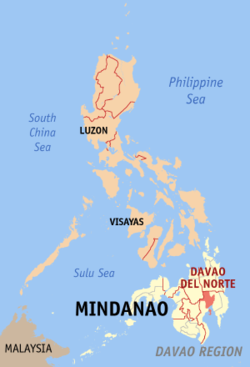 Map of the Philippines with Davao del Norte highlighted