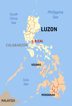 Map of the Philippines with Rizal highlighted