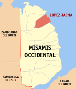 Mapa ti Misamis Occidental a mangipakita ti lokasion ti Lopez Jaena, Misamis Occidental.