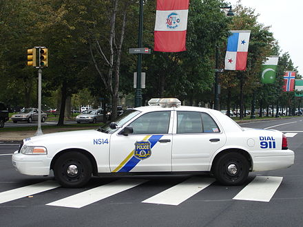 A Philadelphia police cruiser on the Benjamin Franklin Parkway Philadelphia Police - cruiser on Ben Franklin Parkway.jpeg