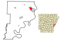 Phillips County Arkansas Incorporated and Unincorporated areas West Helena Highlighted.svg