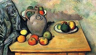 Stilleben, Krug und Früchte auf einem Tisch
