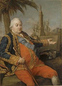 Le bailli de Suffren en grand uniforme d'officier général de la Marine (peint par Pompeo Batoni).