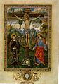 Pinturicchio, Crocifissione con dolenti (Barb. Lat. 614, c. 219), 1502 circa, foglio miniato, Città del Vaticano, Biblioteca Vaticana.jpg