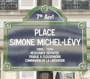 Simone Michel-Lévy - The plaque for the Place Simone Michel-Lévy in Paris, dedicated to her memory in 2006.