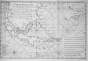 Amédée-François Frézier - Frézier's map of 1717 showing Terre de feu (Tierra del Fuego) and the tip of the South American mainland